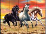 Horse Tile Murals Galloping Horses by Interlitho Designs Kitchen Backsplash Bathroom