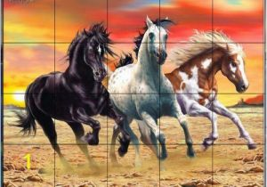 Horse Tile Murals Galloping Horses by Interlitho Designs Kitchen Backsplash Bathroom