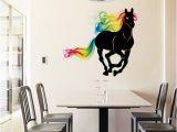 Horse Wall Decals Murals Sk9054 Running Horse Wall Sticker 3d Colorful Horse Tail Wall Decals Animals Art Mural Poster Home Decoration Nursery Wall Sticker Nursery Wall