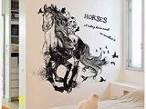 Horse Wall Mural Stickers Lumalt03 Wandaufkleber Diy Schwarz Run Of Horse Abnehmbare