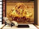 Horse Wall Murals Cheap Beibehang 3d Wallpaper Golden Riding Horse 3d Relief Mural