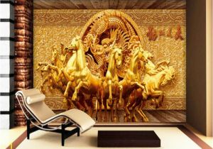 Horse Wall Murals Cheap Beibehang 3d Wallpaper Golden Riding Horse 3d Relief Mural