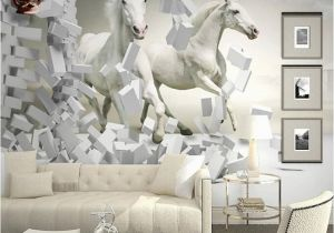 Horse Wall Murals Cheap Great Wall 3d White Horse Wall Murals Wallpaper 3d Horse Custom Wall