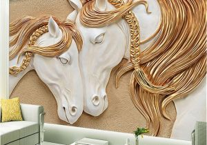 Horse Wall Murals Cheap High Quality Custom Wallpaper 3d Stereo Embossed Horse Living