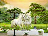 Horse Wall Murals Cheap Wallpaper 3d White Horse Green forest Nature Scenery Murals