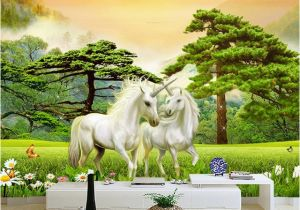Horse Wall Murals Cheap Wallpaper 3d White Horse Green forest Nature Scenery Murals