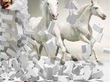Horse Wall Murals Uk wholesale 3d White Horse Wall Murals Wallpaper Canvas 3d Horse