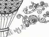 Hot Air Balloon Coloring Page for Adults Adult Coloring Page Hot Air Balloon Instant Download