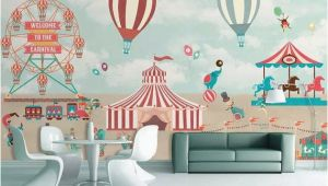 Hot Air Balloon Wall Mural Kids Wallpaper Red Circus Wall Mural Amusement Park Wall Art