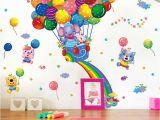 Hot Air Balloon Wall Mural Shijuehezi] Colorful Hot Air Balloon Wall Stickers Animal