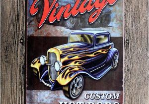 Hot Rod Garage Wall Murals 2019 Vintage Car Retro Metal Tin Signs Retro Wall Decals Plaque Club Pub Bar Garage Kitchen Poster Decoration Living Room Decor From Luckyaboy5 $1 81