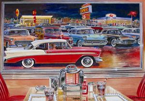 Hot Rod Garage Wall Murals Car Paintings Of the 60s