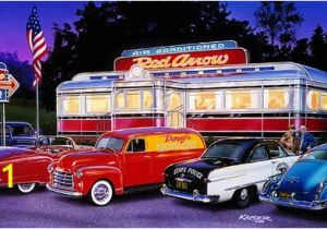 Hot Rod Garage Wall Murals the Red Arrow Diner Hot Rod Print