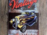Hot Rod Wall Murals 2019 Vintage Car Retro Metal Tin Signs Retro Wall Decals Plaque Club