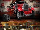 Hot Rod Wall Murals Custom 3d Wall Paper Retro Red Car Wall Murals Restaurant Cafe