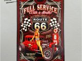 Hot Rod Wall Murals Dl Full Service Hot Rod Route 66 Metal Sign Pin Up Girls with Smile