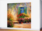 How to Do Mural Painting On Wall Blooming Summer Patio Wall Mural