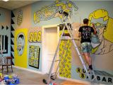 How to Do Mural Painting On Wall Freak City Paints Punk Rock themed Mural Inside An Old