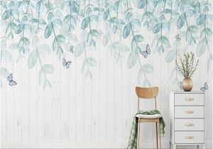 How to Hang A Wall Mural Watercolor Mint Leaves Wallpaper Wall Mural Hanging Leaf Branch