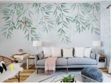 How to Hang Mural Wallpaper Watercolor Hand Painted Leave Vine Wallpaper Wall Mural Fresh Green