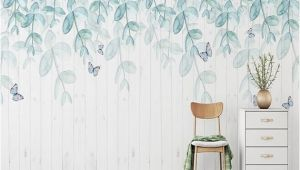 How to Hang Mural Wallpaper Watercolor Mint Leaves Wallpaper Wall Mural Hanging Leaf Branch