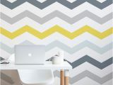 How to Make A Wall Mural Yellow and Grey Chevron Wallpaper for the Home