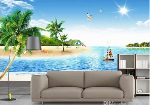 How to Paint A Beach Wall Mural 3d Wallpaper Custom Non Woven Mural Coconut Palm Beach Scenery Decoration Painting 3d Wall Murals Wallpaper for Walls 3 D Hd Wallpaper A Hd