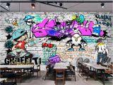How to Paint A Brick Wall Mural Us $8 85 Off Beibehang Custom Wallpaper Fashion Trend Street Art Graffiti Brick Cafe Bar Restaurant Painting Background Wall 3d Wallpaper In