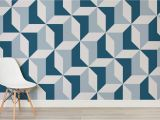 How to Paint A Geometric Wall Mural Blue Geometric Wallpaper Abstract Design