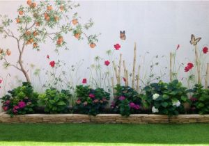 How to Paint A Mural On Cinder Block Wall Hand Painted Garden In 2019