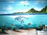 How to Paint An Ocean Mural On A Wall Half Land Half Underwater Amazing
