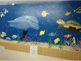 How to Paint An Ocean Mural On A Wall Sealife Mural In Nursing Home Bathroom