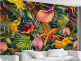 How to Paint On A Wall Mural Custom Wall Mural Tropical Rainforest Plant Flowers Banana