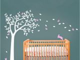 Huge Wall Mural Stickers Huge White Tree Decal with Cute Rabbit and butterflies Vinyl
