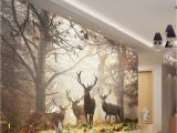Hunting Mural Wallpaper Beibehang Wallpaper for Walls 3 D Retro Nostalgic Style forest Deer