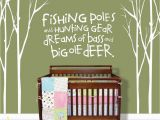 Hunting Wall Murals Tree Decals for Nursery Fishing Poles and Hunting Gear Tree Wall