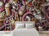 Ice Cream Wall Mural Us $12 82 Off Hand Drawn Cartoon Ice Cream 3d Wallpaper for Walls Cold Drink Restaurant Tea Bar Ktv Background Wallpapers Mural Decoration In