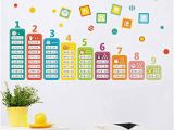 Ideal Decor Wall Murals Bibitime Chinese Math Wall Stickers Cartoon Animal Education Multiplication Table Digital Number Decal Window Sticker for Nursery Classroom Kids Room