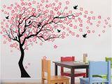 Illusion Wall Murals Carved Sakura Tree Kids Room Wall Decals Children Nursery Art