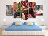 Incredible Hulk Wall Mural Hulk & Iron Man Power Fight Painting 5 Piece Canvas