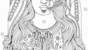 Indian Girl Coloring Pages Vector Hand Drawn Portrait Of An Indian Girl with A Pattern