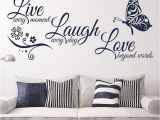 Inexpensive Wall Murals Kedode Live Laugh Love Text Stickers butterfly Wall Art Wallpaper