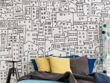 Interior Wall Mural Ideas Black and White City Sketch Mural