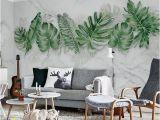 Interior Wall Mural Painting Watercolor Hand Painted Fresh Tropical Leaves Wallpaper Wall Mural