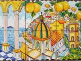 Italian Wall Tile Murals Hand Painted Tile Mural Positano Italy Arches and Lemons