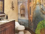 Italian Wall Tile Murals Powder Bath with Venetian Mural