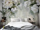 Ivory Rose Wall Mural Classic Vintage Grey Floral Wallpaper Grey Backgroud Ivory Flower Wall Mural Big Flowers theme Wall Art Oil Painting Wall Murals Wall Decor