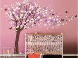 Japanese Cherry Blossom Tree Wall Mural Flower Tree Wall Decal Tree butterflies Cherry Blossom Decal Nursery