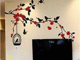 Japanese Cherry Blossom Wall Mural Cherry Blossom Tree Flying Birds with Birdcage Wall Decals Kitchen Nursery Living Room Wall Stickers Wall Art Murals