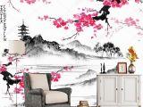 Japanese Murals for Walls Japanese Landscape Wallpaper Landscape with Sakura Branches